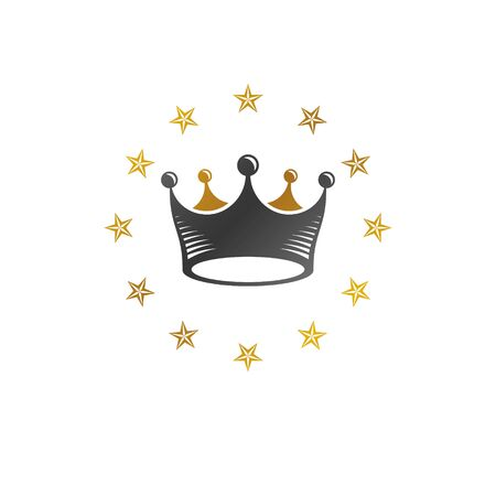 Royal Crown vector illustration. Heraldic decorative design. Antique logotype isolated on white background. Stockfoto - 129393911