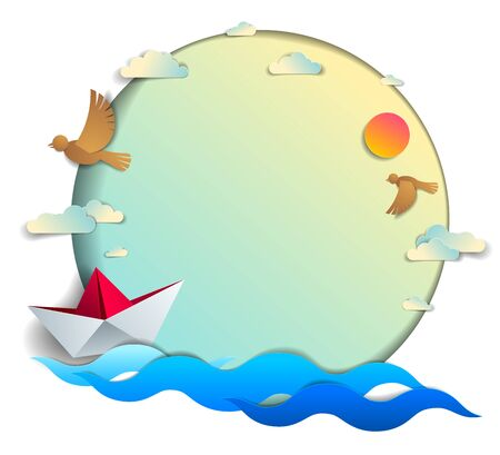 Paper ship swimming in the sea waves with beautiful beach and palms, frame or border with copy space, origami toy boat floating in the ocean, scenic seascape, birds and clouds in the sky, vector.