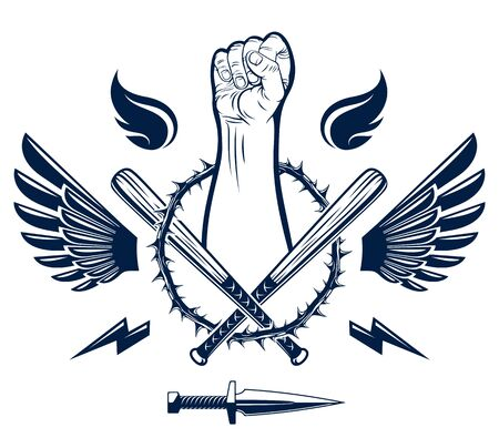 Revolution and Riot aggressive emblem with strong clenched fist, weapons and different design elements , vector tattoo, anarchy and chaos, rebel partisan and revolutionary.
