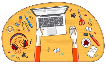 Office employee or entrepreneur work desk workplace with hands and PC notebook and diverse stationery objects for work, top view. All elements are easy to use separately. Vector illustration. Çizim