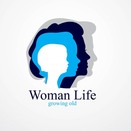 Woman life age years concept, the time of life, periods and cycle of life, growing old, maturation and aging, one generation and age categories. Vector simple classic icon or design.