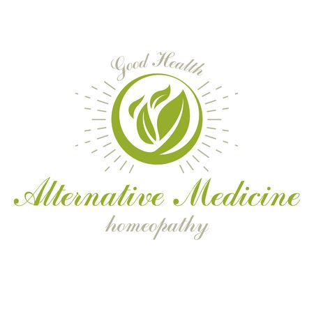 Green spring leaves vector symbol for use in holistic medicine, rehabilitation or pharmacology. Wellness and harmony symbolic emblem. Imagens - 129394038
