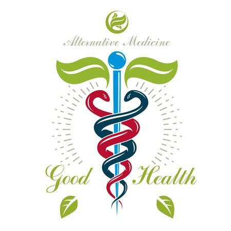 Caduceus vector conceptual emblem created with snakes and green leaves. Wellness and harmony metaphor. Alternative medicine concept, phytotherapy. Imagens - 129394042