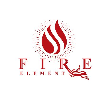 The power of burning flame, fire element abstract vector for use as marketing design symbol. Ilustração