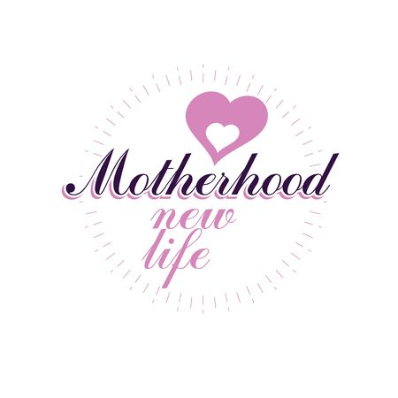 Vector heart emblem isolated on white. Motherhood concept and new life beginning drawing. Medical rehabilitation and childcare center emblem