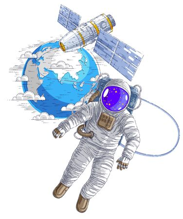 Astronaut went out into open space connected to space station and earth planet in background, spaceman floating in weightlessness and iss spacecraft with solar panels behind him. Vector.
