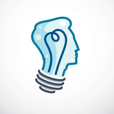 Creative brain concept, intelligent person vector. Light bulb in a shape of child head profile. Bright mind, thinking and brainstorming idea icon. Illustration