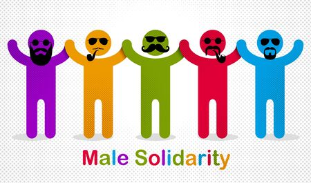 Man day international holiday, gentleman club, male solidarity concept vector illustration icon or greeting card. Ilustrace