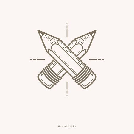 Two crossed pencils vector simple trendy design or icon for designer or studio, creative competition, designers team, linear style.