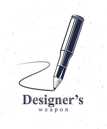 Idea is a weapon concept, weapon of a designer or artist allegory shown as a firearm cartridge case with pencil instead of bullet, creative power, vector design or icon.