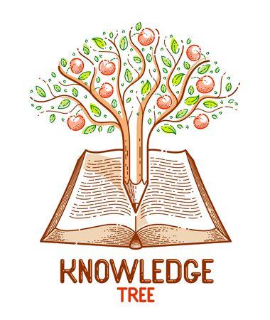 Baum mit Äpfeln kombiniert mit Bleistift über offenem Vintage-Buchbildungs- oder Wissenschaftswissenskonzept, Bibliotheksvektor oder Emblem für pädagogische oder wissenschaftliche Literatur.