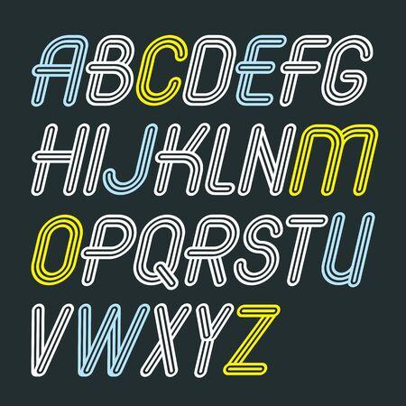 Ensemble de lettres de l'alphabet majuscule vecteur à la mode isolé. Police de type rétro italique, le script de a à z peut être utilisé pour la création. Fabriqué avec une décoration à triple rayures.