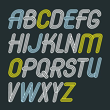 Set of trendy vector capital alphabet letters isolated. Retro italic type font, script from a to z can be used for creation. Made with triple stripy decoration.