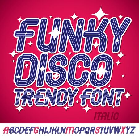 Set of bright italic vector upper case funky English alphabet letters isolated can be used as design element for event companies