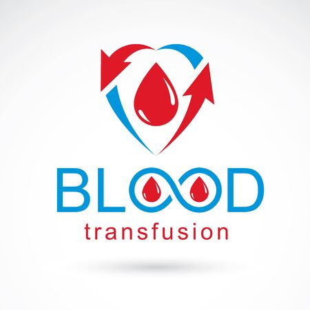 Blood transfusion vector illustration created with blood drop, arrows and infinity symbol. Charity and volunteer conceptual for use in medical and social theme advertisement