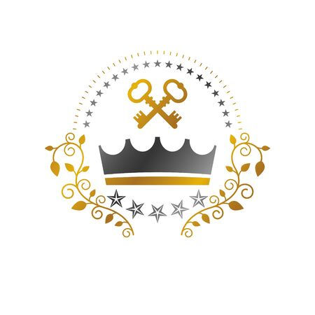 Royal Crown emblem. Heraldic Coat of Arms decorative design isolated vector illustration. Ornate on white background. Stockfoto - 129395159