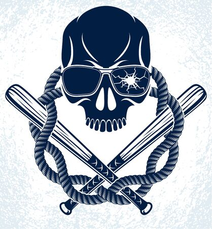 Brutal gangster emblem or design with aggressive skull baseball bats design elements, vector anarchy crime or terrorism retro style, ghetto revolutionary.