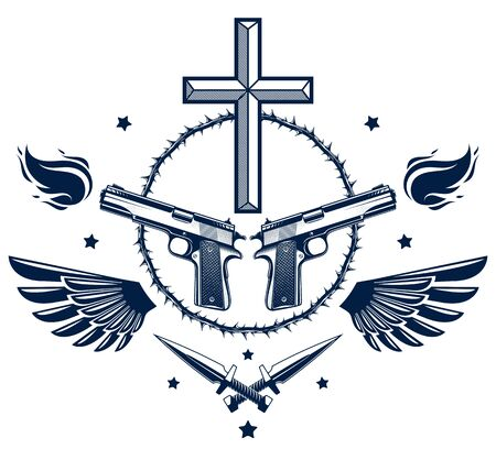 Gangster thug emblem or design with Christian Cross, weapons and different design elements , vector tattoo, anarchy and chaos, dead rebel partisan and revolutionary. Ilustração