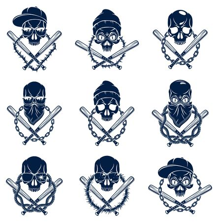 Gangster emblem design or tattoo with aggressive skull baseball bats and other design elements, vector set, criminal ghetto vintage style, gangster anarchy or mafia theme. 向量圖像