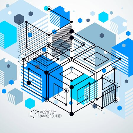 Modern isometric vector abstract blue background with geometric element. Layout of cubes, hexagons, squares, rectangles and different abstract elements.