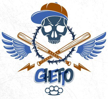Disegno dell'emblema gangster o tatuaggio con mazze da baseball teschio aggressivo e altre armi ed elementi di design, vettore, stile vintage ghetto criminale, anarchia gangster o tema mafioso. Vettoriali