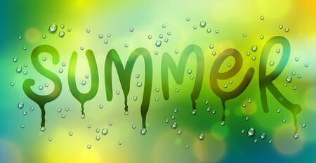 Summer word drawn on a window, water rain drops or condensate macro over blurred green background, vector 3d realistic transparent illustration, summertime nature beautiful art.