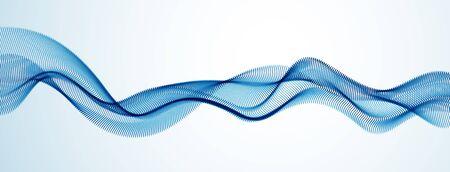 Dynamische Partikel Schallwelle fließt. Gepunktete Kurven Vektor abstrakten Hintergrund. Schönes 3D-Wellenförmiges Array von Mischpunkten.