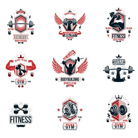 Vector weightlifting theme designs and inspirational leaflets collection made using dumbbells, barbells, disc weights sport equipment and strong man perfect body. Illustration