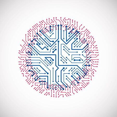 Vector abstract colorful technology illustration with round blue and magenta circuit board. High tech circular digital scheme of electronic device.