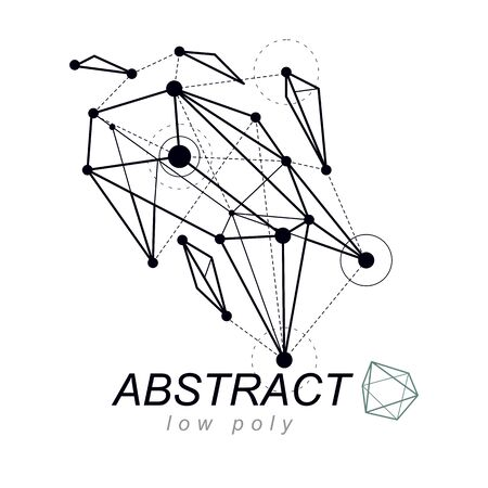 Abstract three-dimensional shape, vector design element. Innovation technologies abstract emblem. Ilustração