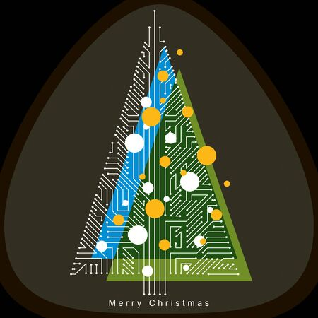 Vector illustration of futuristic evergreen Christmas tree, technology and science conceptual design. Holidays and celebration idea. Technology and nature balance concept.