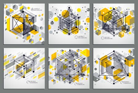 Vector of abstract geometric 3D cube pattern and yellow backgrounds set. Layout of cubes, hexagons, squares, rectangles and different abstract elements. 向量圖像