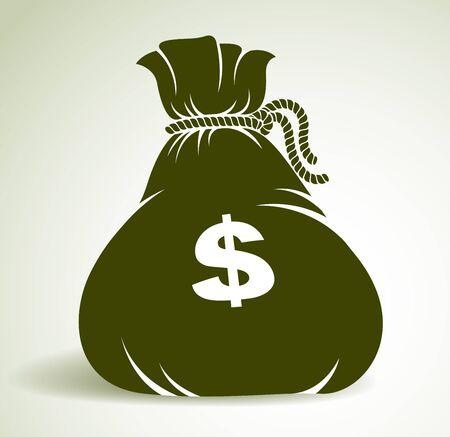 Moneybag money bag vector simplistic illustration icon or design, business and finance theme, income taxes revenue prize. Ilustração