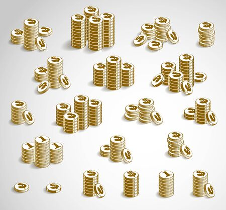 Coin stack cash money or casino chips still-life, vector icon set, illustration or design collection, revenue or taxes concept, pile of cents.
