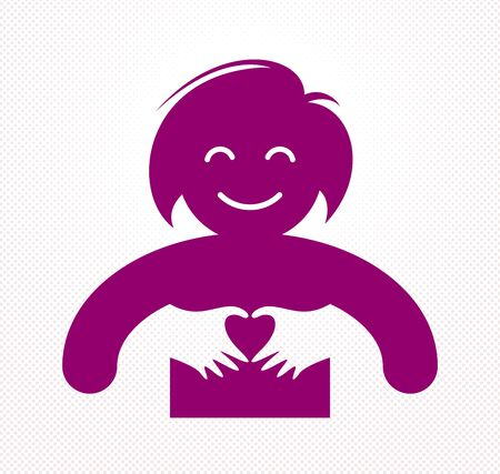 Love arms hugging lover shows heart shape gesture hands, lover woman hugging her mate and shares love, vector icon design or illustration in simplistic symbolic style. 向量圖像