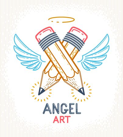 Two crossed pencils with wings and nimbus, vector simple trendy design or icon for designer or studio, creative spirit, angel design, linear style.  イラスト・ベクター素材