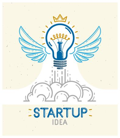 Idea light bulb with wings launching like a rocket vector linear design or icon, creative idea startup, science invention or research lightbulb, new business start.