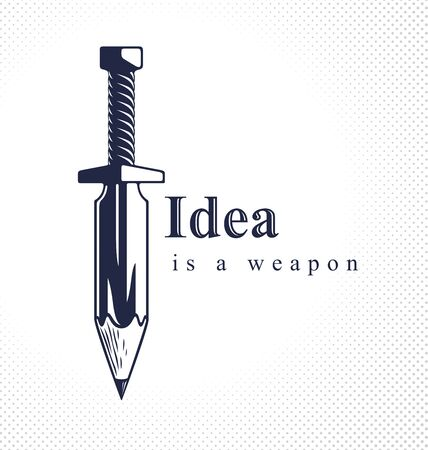 Idea is a weapon concept, weapon of a designer or artist allegory shown as sword with pencil instead of blade, creative power, vector or icon. Ilustração