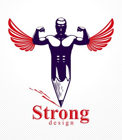 Strongman muscle man combined with pencil and wings into a symbol, strong design concept, creative power allegory, vector perfect classic style design or icon.