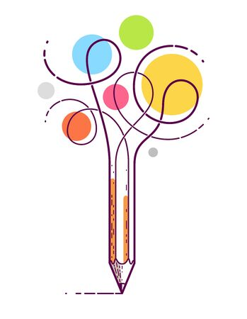 Graphic pencil with curly lines symbolizes creativity, vector design illustration.