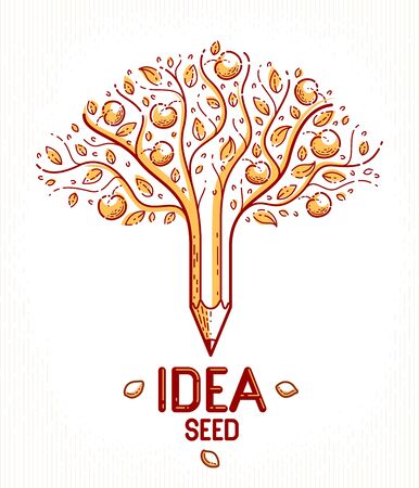 Beautiful fruit apple tree with pencil combined into a symbol, Idea seed concept vector classic style design or icon. Strong thoughts virus idea allegory.