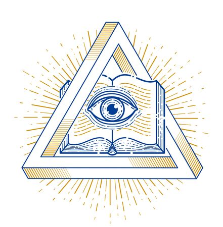 Secret knowledge vintage open book with all seeing eye of god in sacred geometry triangle, insight and enlightenment, masonry or Illuminati symbol, vector or emblem design element. Illusztráció