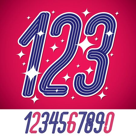 Vector artistic funky elegant tall cursive numbers, modern numerals set made with triple stripes. Can be used for creation in entertainment business. Illusztráció