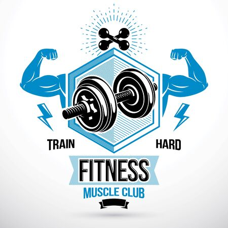 Vector sign composed with muscular sportsman arms and disc weight dumbbell. Fitness center graphic emblem Ilustração