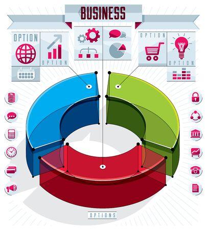Creative infographics template, three sectored 3d circle idea, vector layout illustration. Ilustração