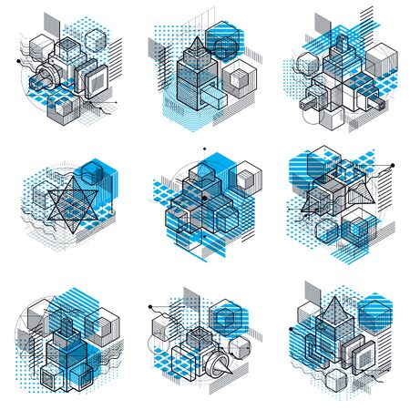 Abstract vector backgrounds with isometric lines and shapes. Cubes, hexagons, squares, rectangles and different abstract elements. Vector collection.