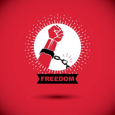 Rebels red arm with clenched fist in shackles breaks the chain. Freedom for the personality Ilustração