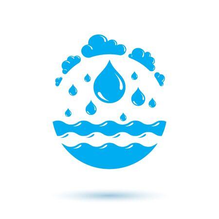 Ocean freshness theme vector  for use as marketing design symbol. Environment conservation concept.