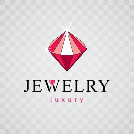 Vector luxury faceted decorative element. Glossy diamond sign emblem. Brilliant jewelry illustration.