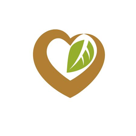 Vector heart shape illustration composed with green leaves. Living in harmony with nature concept, green health idea symbol. Illusztráció